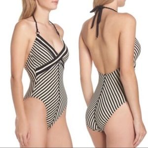 Robin Piccone One Piece Halter Striped Swimsuit